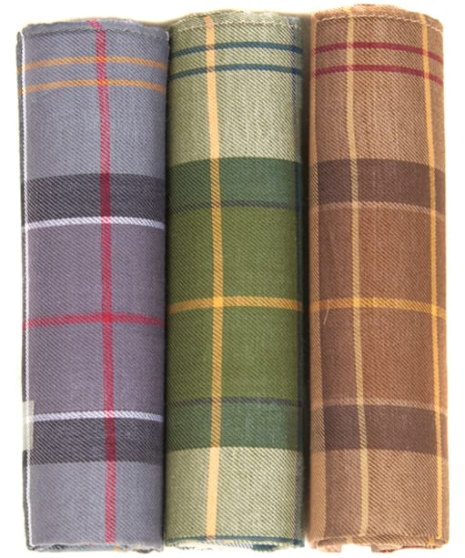 Barbour Assorted Tartan Handkerchiefs - Boxed Set of Three