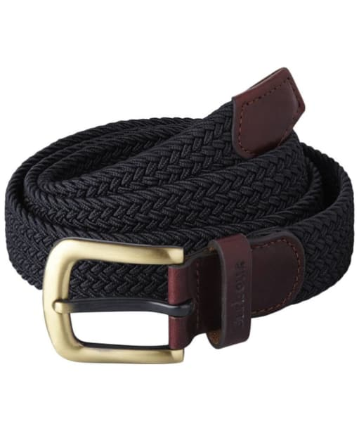 Men's Barbour Stretch Webbing Leather Belt - Navy