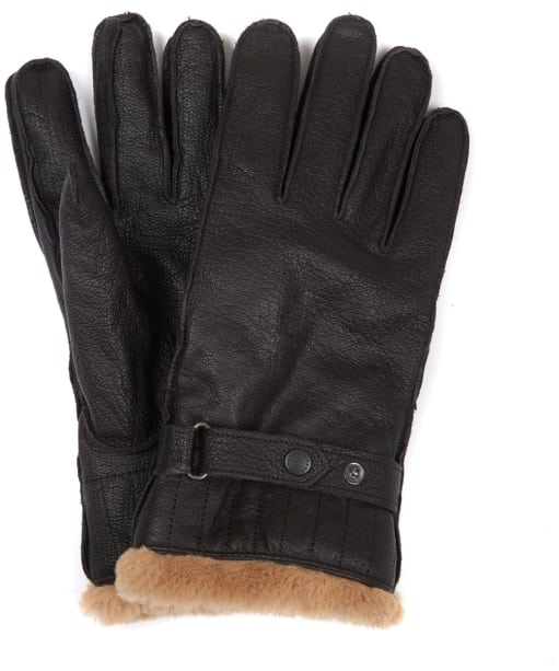 Men's Barbour Leather Utility Gloves - Brown
