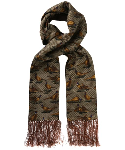 Men's Soprano Standing Pheasants Silk Scarf - Brown