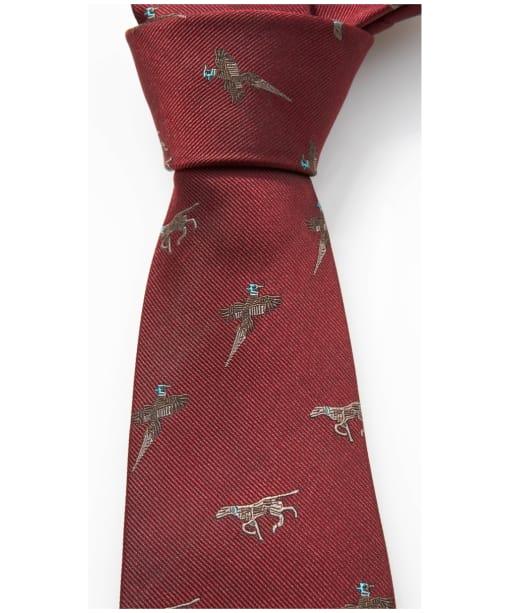 Men's Alan Paine Ripon Silk Tie - Bird and Dog Design - Bordeaux