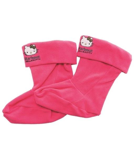 Girl's Barbour Hello Kitty Fleece Wellington Socks - Bright Pink