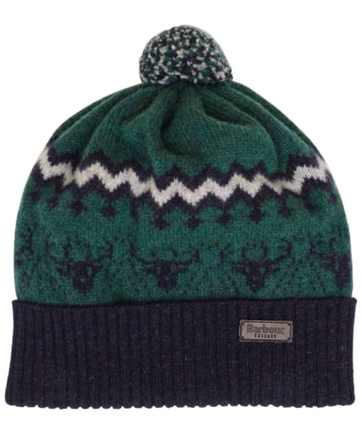 Boy's Barbour Stags Head Bobble Hat - Green