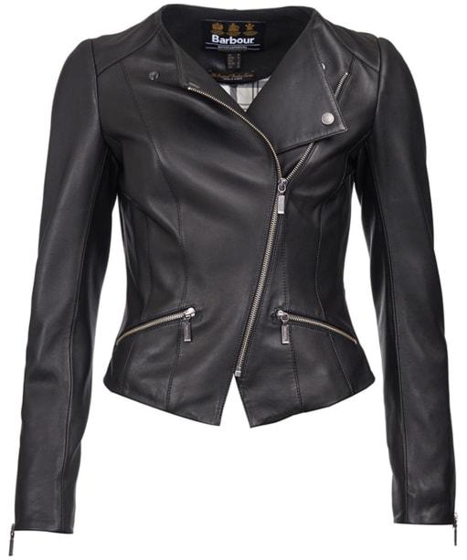 Barbour International Shadow Mid Leather Jacket - Black