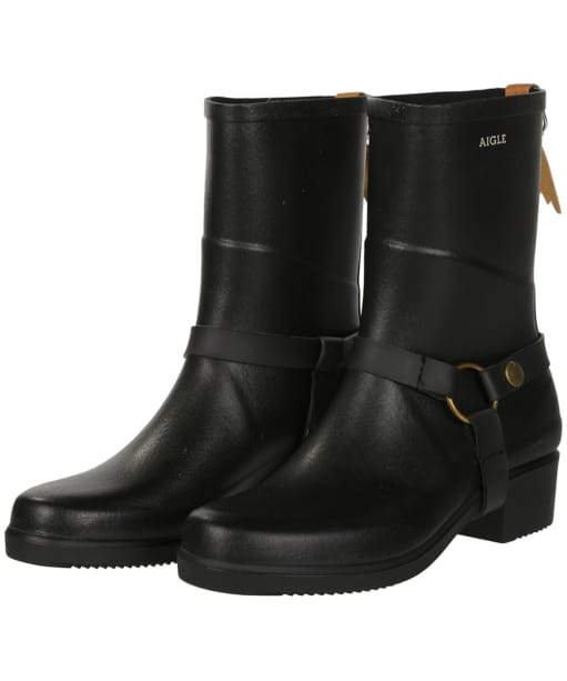 Aigle Miss Julie Short Wellington Boots - Black