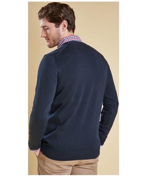 Men's Barbour Pima Cotton V-Neck Sweater - Navy