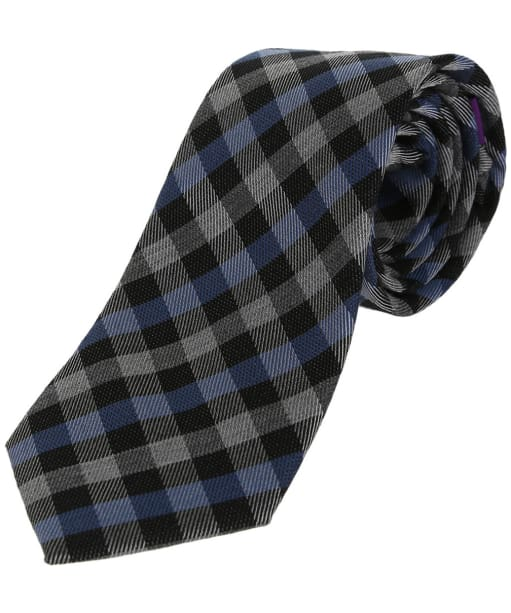 Men's Soprano Gingham Checked Wool Rich Tie - Blue / Grey / Black