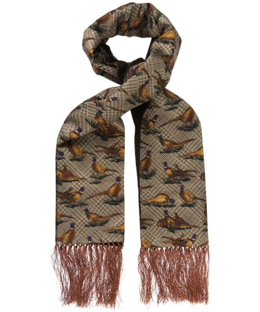 Men's Soprano Pheasant Silk Scarf - Tweed Pheasants