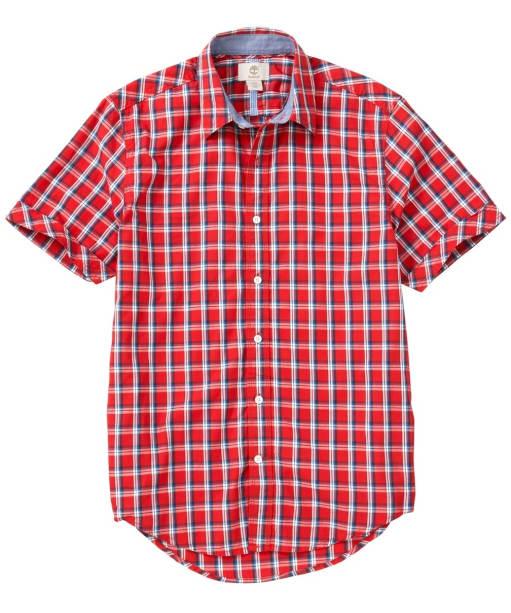 Men's Timberland Lane River Check Poplin Shirt - True Red