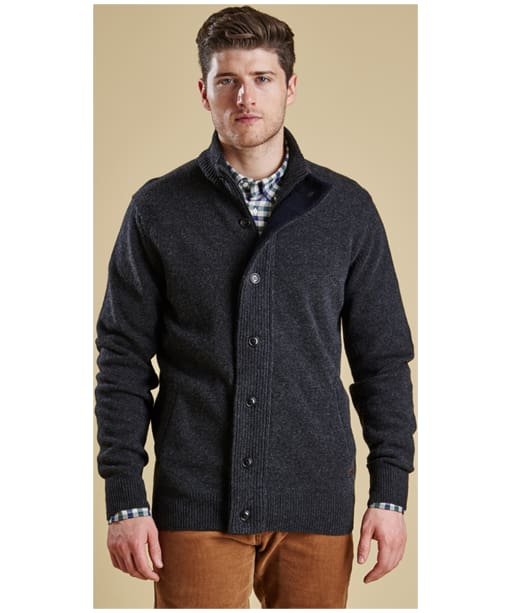 Men's Barbour Patch Zip Through Sweater - Charcoal Marl