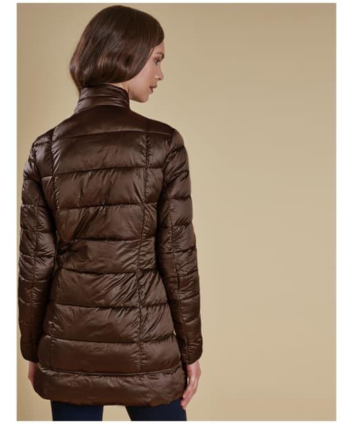Women's Barbour Clyde Long Quilted Jacket - Dark Aubergine