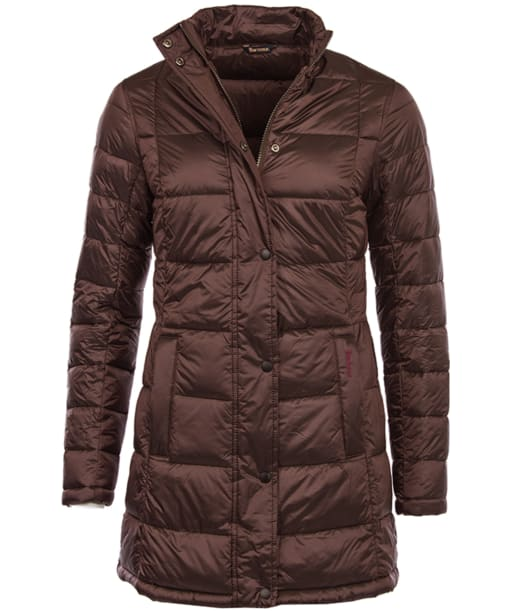 Women's Barbour Clyde Long Quilted Jacket - Dark Aubergine