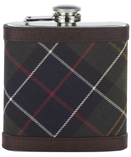 Barbour Hip Flask- Classic Tartan / Dark Brown
