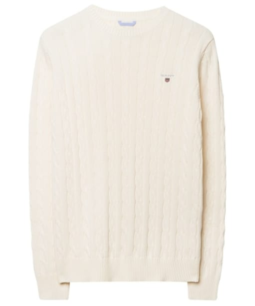 Men's GANT Cotton Cable Crew Sweater - Cream