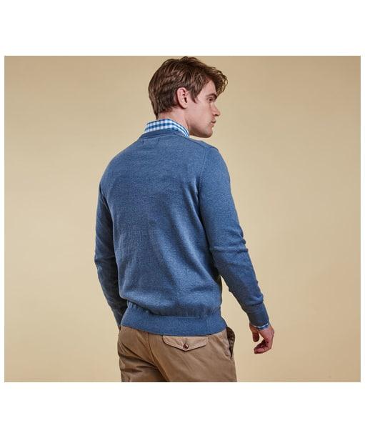 Men's Barbour Pima Cotton V-Neck Sweater - Dark Chambray
