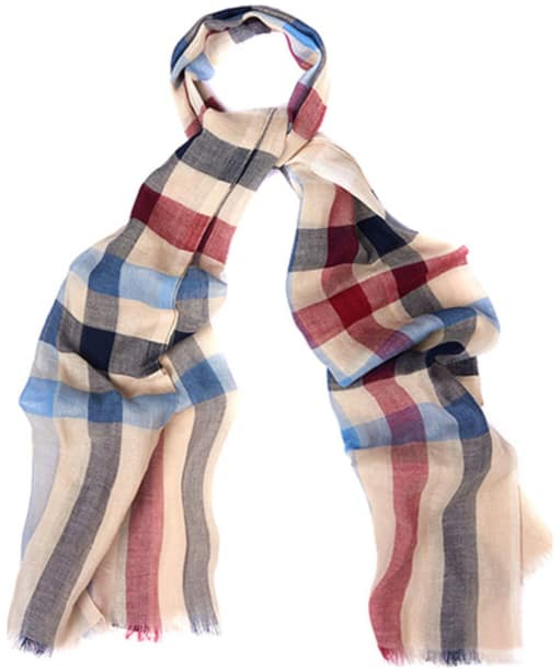 Barbour Duncan Tattersall Scarf - Linen / Navy / Red