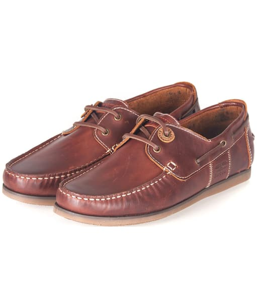 Men's Barbour Capstan Boat Shoes - Mahogany Leather