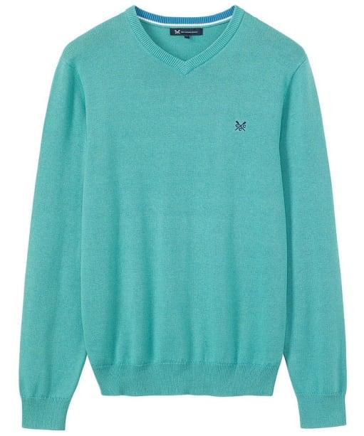 Men's Crew Clothing Foxley V-Neck Sweater - Aqua Haze