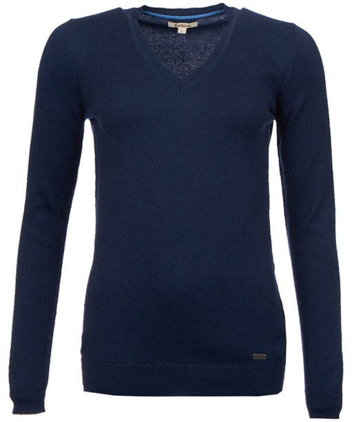 Women's Barbour Cotton Cashmere V Neck Sweater - Navy