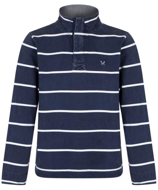 Men's Crew Clothing Padstow Pique Sweatshirt - Dark Navy Stripe
