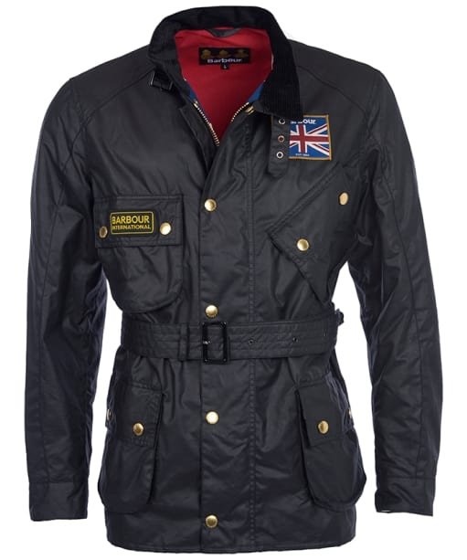 Men's Barbour International Union Jack Waxed Jacket - Black | Union Jack