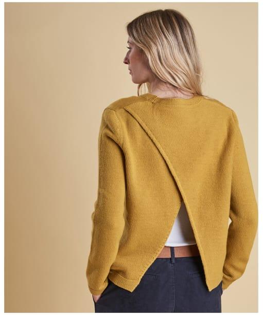 Women's Barbour Stratus X-back Crew Neck Sweater - Harvest Yellow