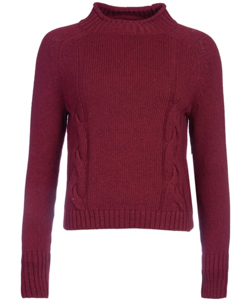 Women's Barbour Droplet Cropped Knit Sweater - Merlot