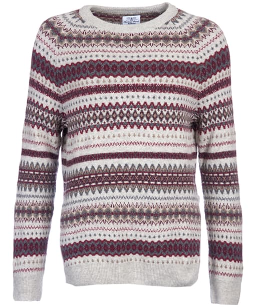 Women's Barbour Felted Fairisle Crew Neck Sweater - Grey Marl