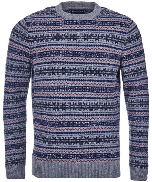 Men's Barbour Harvard Fairisle Crew Neck Sweater - Grey Marl