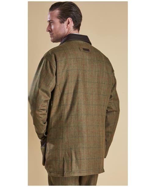 Men's Barbour Moorhen Wool Waterproof Jacket - Olive / Brown Check