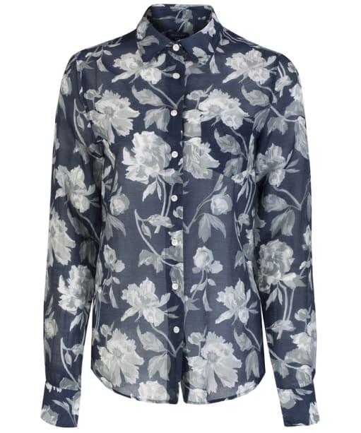 Women's GANT Monochrome Flower Print Voile Shirt - Marine