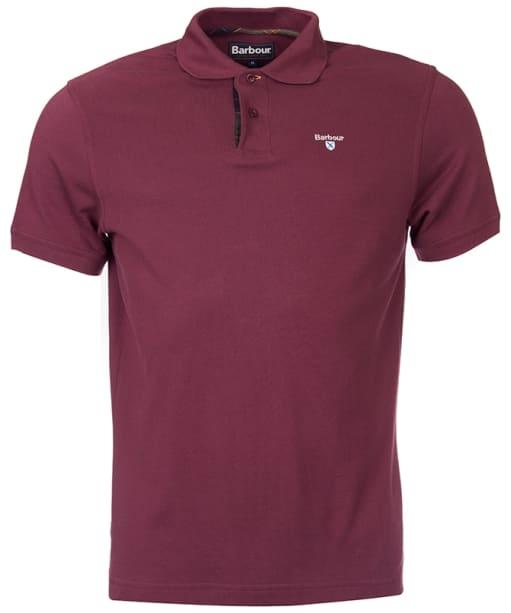 Men's Barbour Tartan Pique Polo Shirt - Merlot