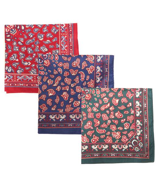 Men's Barbour Paisley Handkerchiefs - Red / Green / Navy