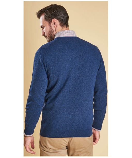 Men's Barbour Essential Lambswool V Neck Sweater - Deep Blue