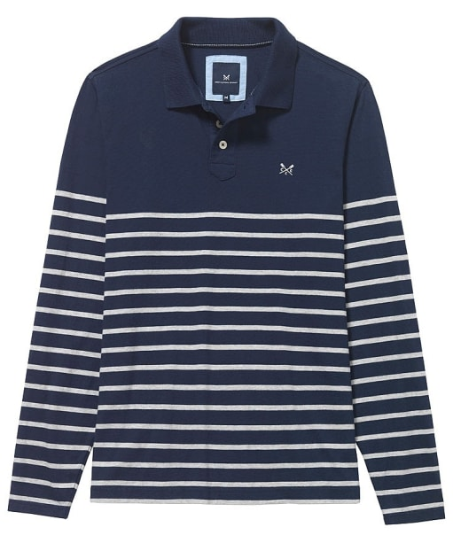 Men's Crew Clothing Marlow Breton Long Sleeved Polo - Navy / Grey Marl