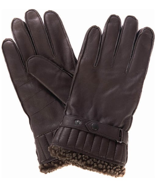 Men's Barbour Tindale Leather Gloves - Brown