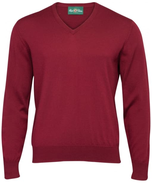 Men's Alan Paine Millbrook V-Neck Sweater - Bordeaux