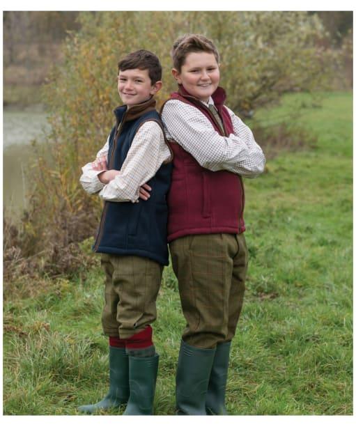 Children's Alan Paine Aylsham Fleece Waistcoat, 3-16yrs - Bordeaux