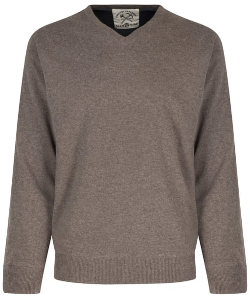 Men's Alan Paine Shenstone Vee Neck Windblock Sweater - Mouse