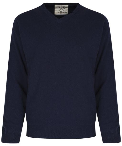 Men's Alan Paine Shenstone Vee Neck Windblock Sweater - Navy