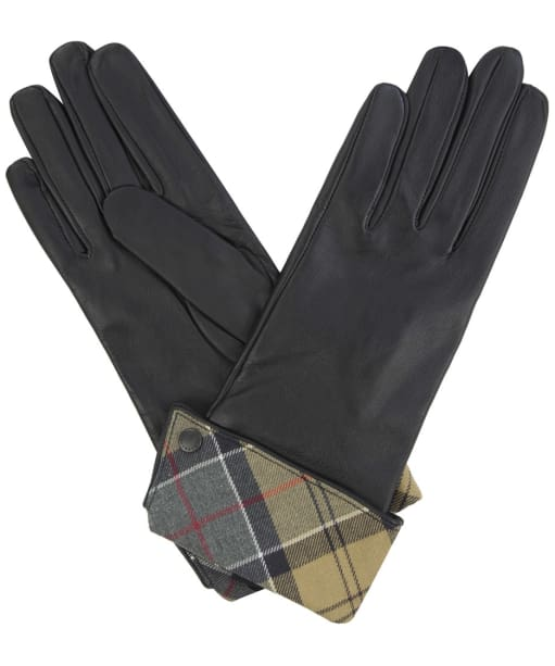 Women's Barbour Lady Jane Leather Gloves - Black / Dress Tartan