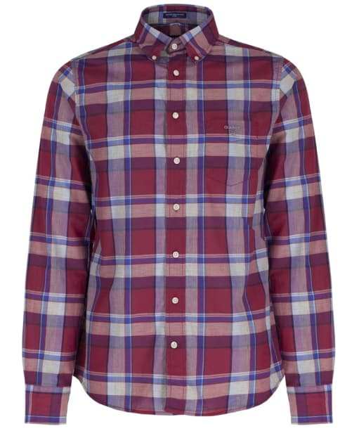 Men's GANT Heather Plaid Broadcloth Fitted Shirt - Thunder Red