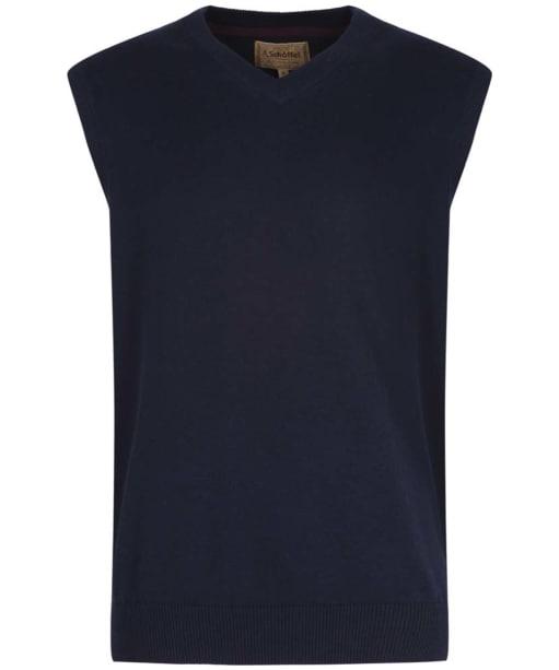Men's Schoffel Cotton Cashmere Sleeveless V-Neck Sweater - Navy Blue