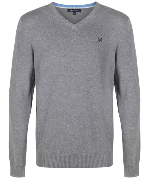 Men's Crew Clothing Foxley V-neck Sweater - Grey Marl