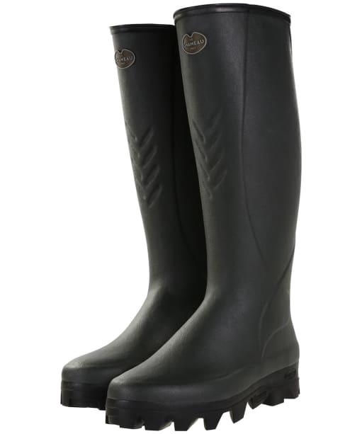 Men's Le Chameau Ceres 3mm Neoprene Lined Wellington Boots - Vert Bronze