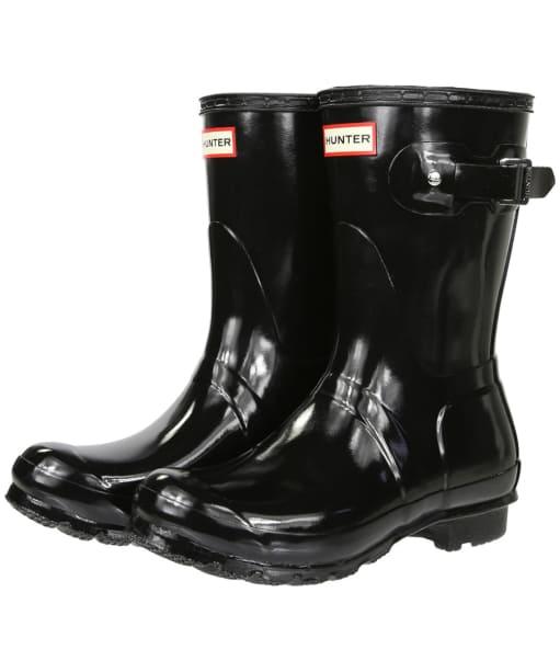 Women's Hunter Original Short Gloss Wellington Boots - Black