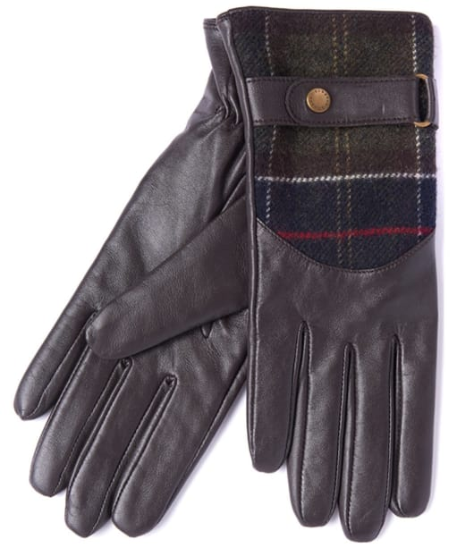 Women's Barbour Dee Leather & Tartan Gloves - Dark Brown