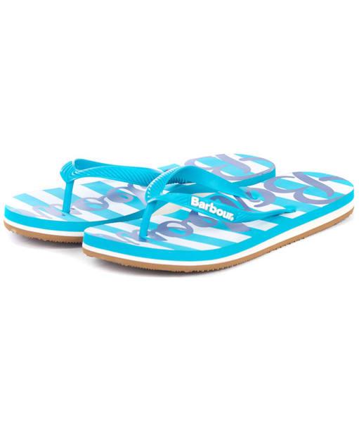 Women's Barbour Beachcomber Logo Flip Flops - Turquoise / Navy