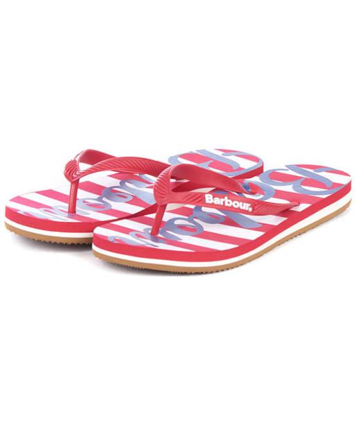 Women's Barbour Beachcomber Logo Flip Flops - Red / Navy