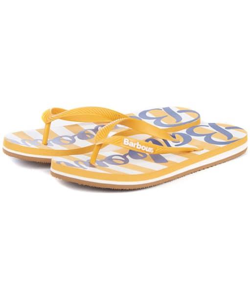 Women's Barbour Beachcomber Logo Flip Flops - Gold / Navy